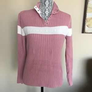 Tommy Hilfiger 1/4 Snap Button Neck Ribbed Sweater